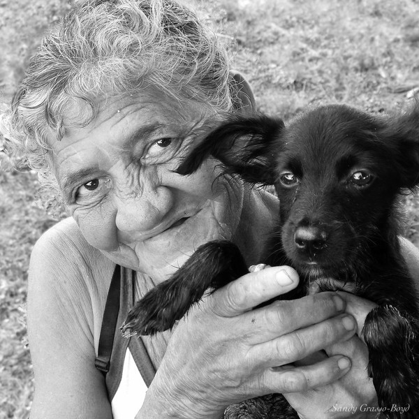 Cuban Lady and Puppy
