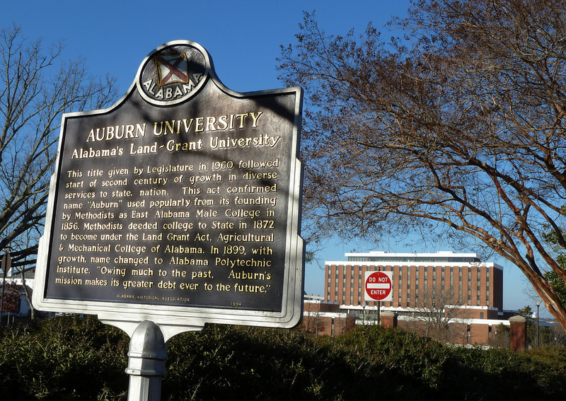 Auburn University, historical sign with Haley Center in background
