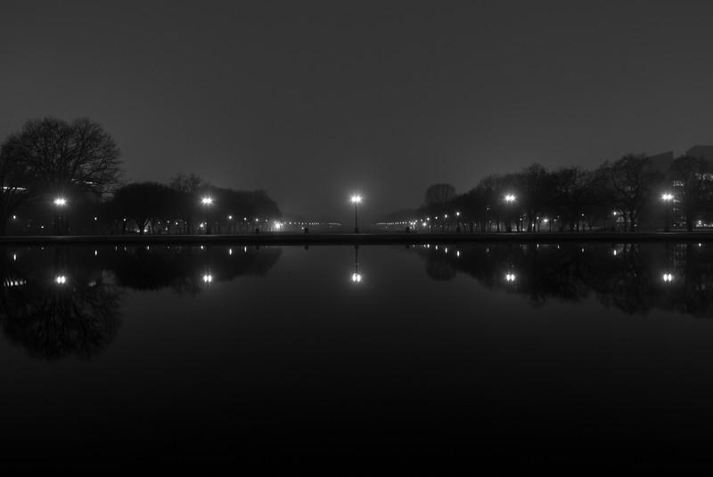 U.S. Capitol Reflecting Pool at night