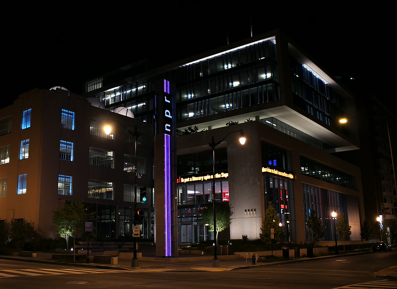 NPR headquarters at night