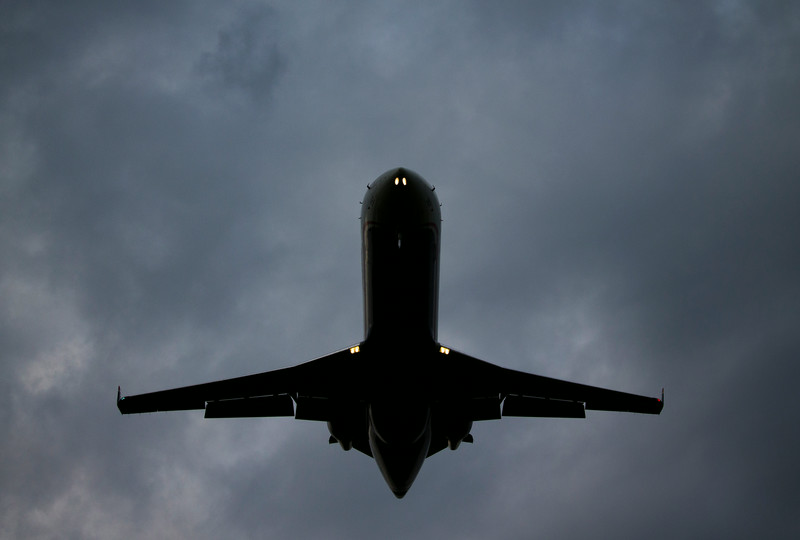 airplane approaching airport