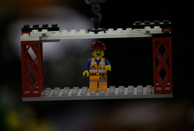 BrickFair VA 2014, minifigure smiling on crane