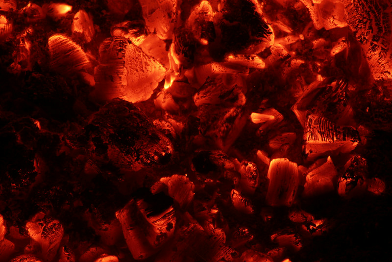 embers in campfire