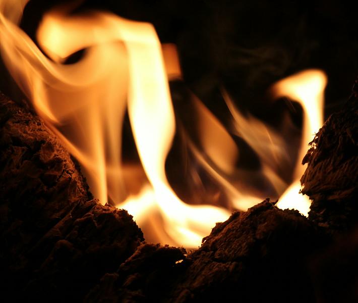 flames around campfire