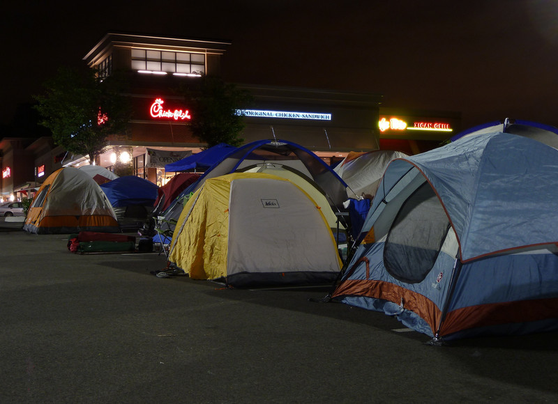 tents camped outside Chick-fil-A restaurant for grand opening