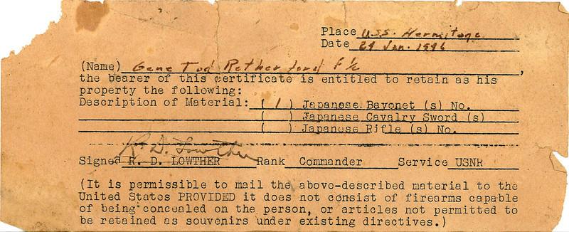 1/24/46 receipt for war souvenirs