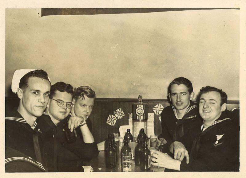 2/18/46 -- Enjoying a beer at McGill's in Bremerton, Washington.