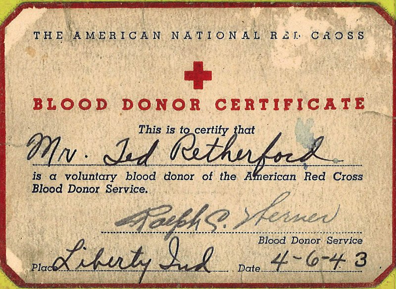Blood donor for the war effort