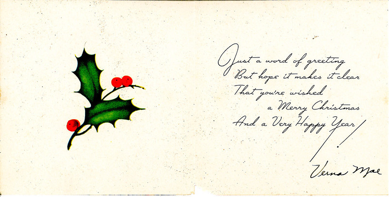 Christmas card from Verna Mae.