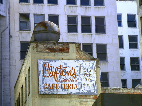 I grew up loving a later branch of Clifton's Cafeteria at Lakewood Center. My Pastor took me there to celebrate my high school graduation in '64. It closed in the 80's. This is the 2nd Clifton's, called Brookdale, which started in 1931. This sign is visible only from a side street.