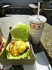 My favorite burger - Animal AND Protein style, no pickles, no salt - Yum. For dessert, I have a Neapolitan shake - vanilla, chocolate and strawberry in one cup.