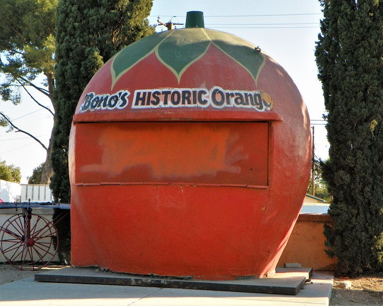 Orange-shaped citrus stands used to be a common sight on California highways in the 1920s and '30s. Few remain. This 7-foot structure was moved onto the property of a 1930s restaurant at 15395 Foothill Blvd. It is now called Bono's Italian Restaurant & Deli and is in the National Register of Historic Places.