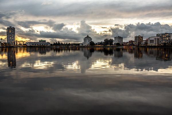 Lake Merritt Sunset with Gray Skies, II