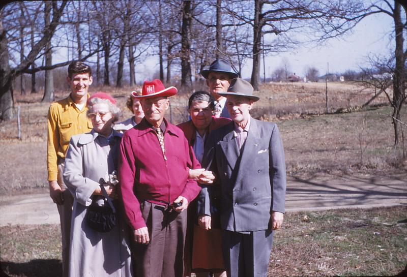 From left to right, Bob Mueller, Weesy (spelling?) Mayda Mueller, Pop Shaffer, ?, Sam Mueller, ?