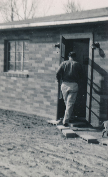 """Gene Peyton at the """"New"""" house on Old Mayfield Road."""