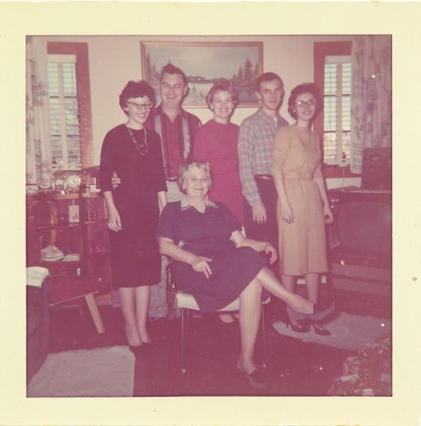 """From L-R:   Loretta Peyton Whitis, Bobby Peyton, Emma """"Granny"""" Peyton (seated), June Peyton Thompson, Don Peyton, Linda Peyton Mueller."""