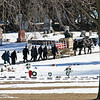 Uncle Jim's final journey on February 11, 2012, pulled by horses, on his lumber wagon, and followed by his family.