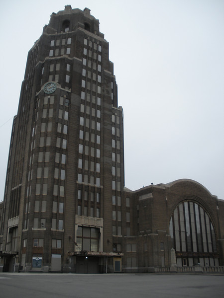 The tower was designed to hold offices, the main hall is behind it.