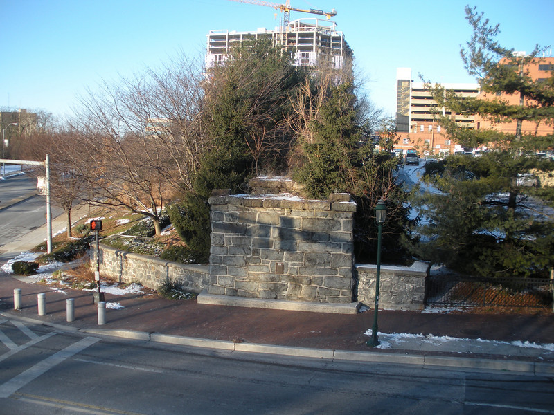 One of two remaining trestle piers in Towson crossing York Road.