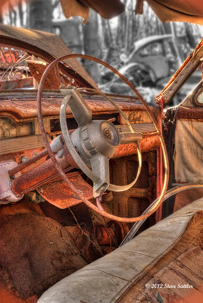 Auto Junk Yard - Steering Wheel and Seat