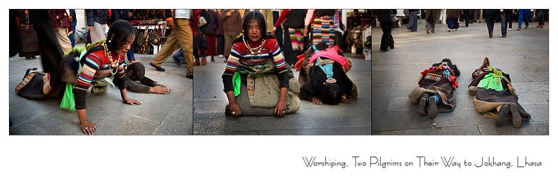 八廓街上磕长头的藏族姑娘