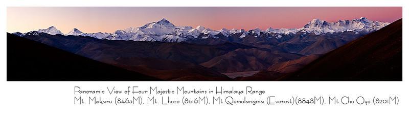 清晨全景远眺 - 四座八千米以上的雪峰一字排开:<br /> 玛鲁卡峰(8463米), 洛子峰(8516米), 珠峰(8848米), 卓奥友峰(8201米)