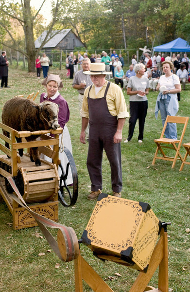 A sheep treadmill is used to power a butter churn.  Photo taken on the Ketola farm at a Friends of Old World Wisconsin special event in 2004.