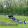 Schoolchildren follow Teddy and Bear, Old World oxen, through the pasture at the 1875 Schottler farm.