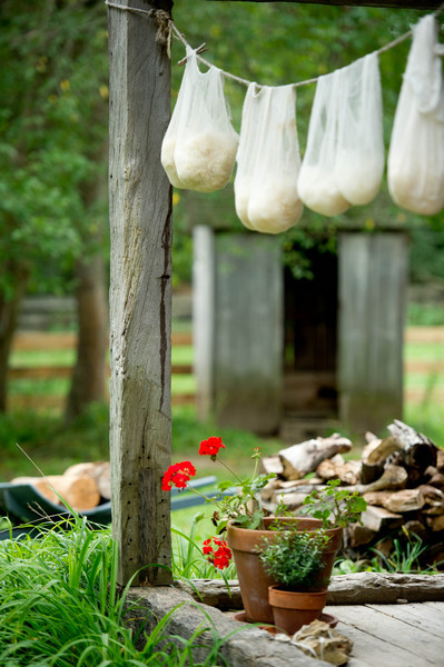 Wool hung to dry on the front porch of the 1865 Kvaale farmhouse.
