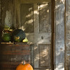 Front porch of the Kvaale farmhouse.  The door seen here opens into a storage area,.