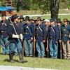 Union Army Civil War reenactors at their morning muster in Crossroads Village.