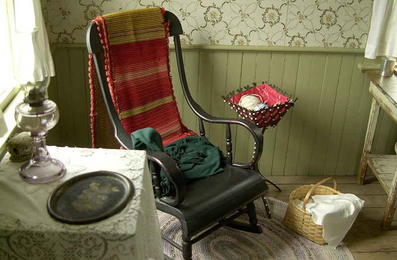 Interior of the Mary Hafford house in Crossroads village.  Mary Hafford, an Irishwoman, had 3 young children when her husband died.  She suported herself and her children by taking in laundry.