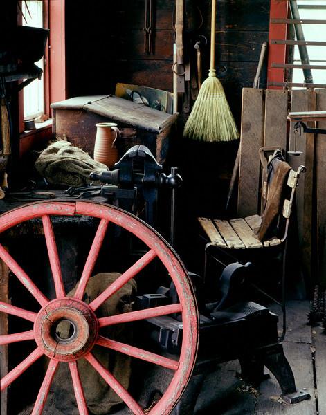 Interior of the Grotelueschen blacksmith shop in Crossroads village.