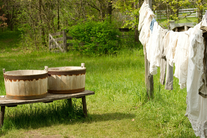 Laundry hanging at the Mary Hafford house in Crossroads Village.  Mary Hafford, an Irish widow made her living by taking in laundry, as well as sewing and mending.