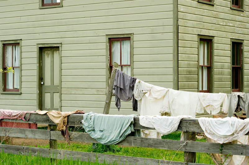 Laundry hanging at the Mary Hafford house in Crossroads Village.  Mary Hafford, an Irish widow, made her living by taking in laundry, as well as sewing and mending.
