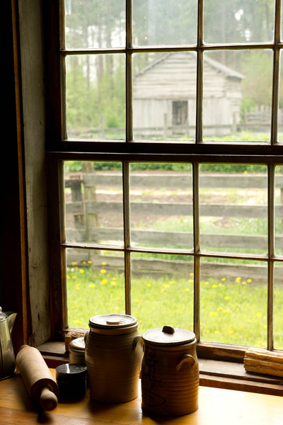 View through the kitchen window of the stabbur at the Norwegian Kvaale farm.