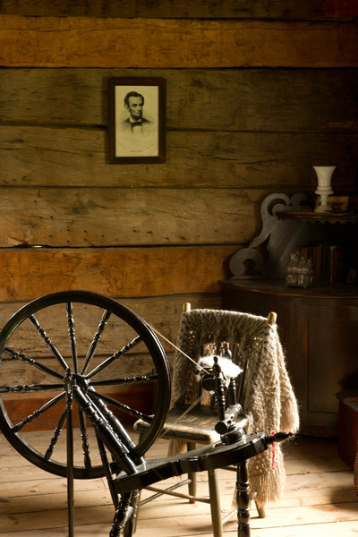 Spinning wheel at the 1865  Kvaale sheep farm in the Norwegian area.