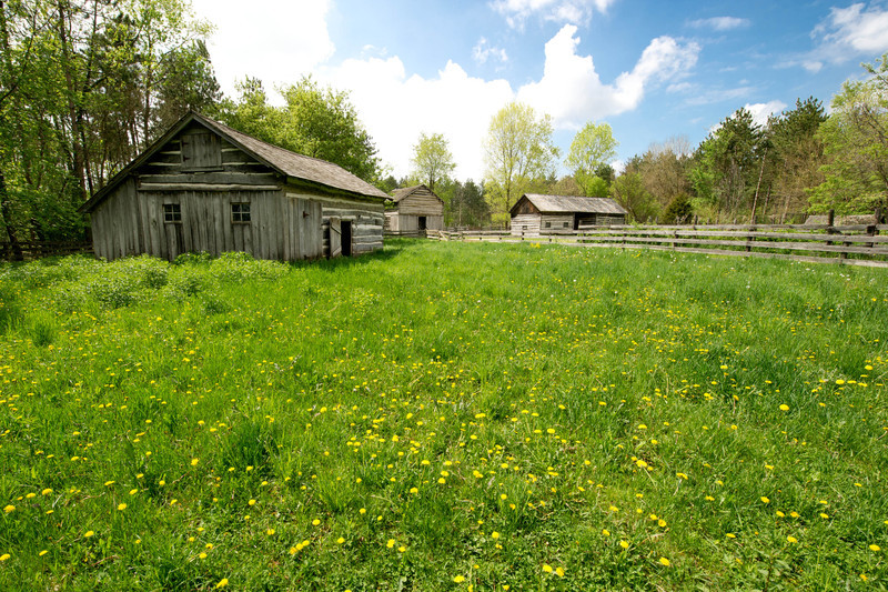 Outbuildings at the 1865 Kvaale farm in the Norwegian area.