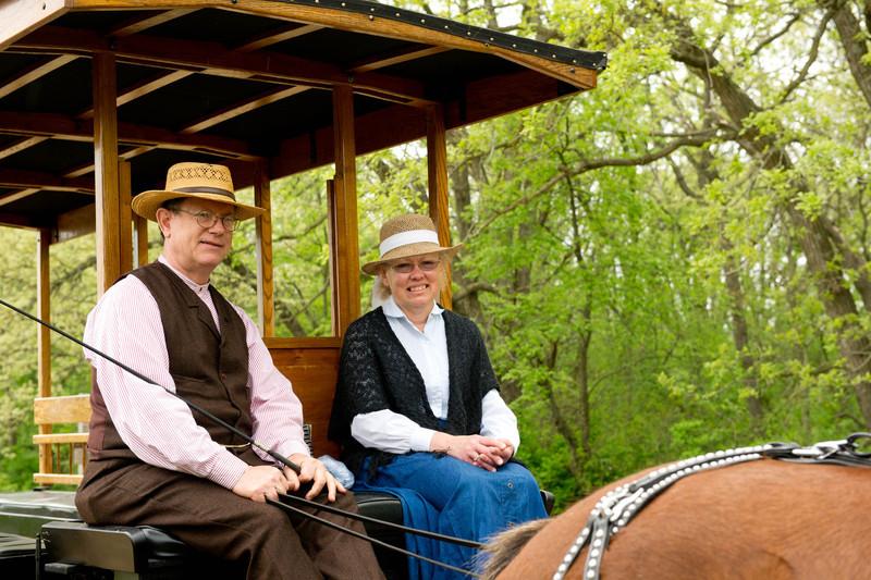 Old World Wisconsin's replica 19th century omnibus.