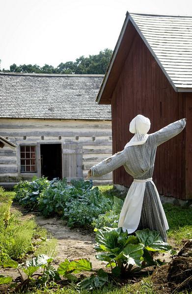 A scarecrow guards the garden at the 1875 Schottler (German) farm.