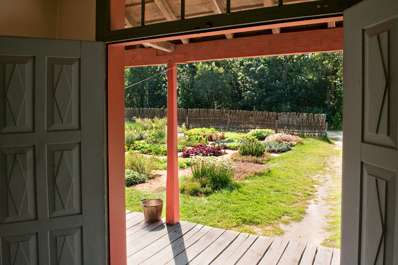 The Schulz farm garden as seen through the front entrance to the farmhouse.  Note the twig fence that surrounds the garden area.  Fences were use to keep wild animals from damaging the plants and twigs were plentiful in the New World.