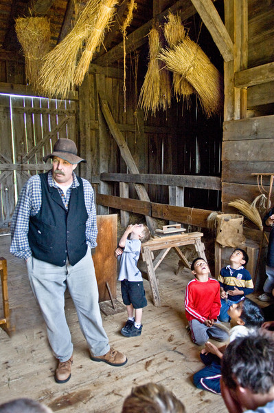 Students on a field trip are awed by the sheaves of straw hanging in the Grube barn at the 1860 Schulz farm in the German area.