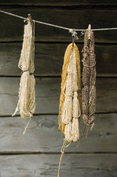 Yarn is hung to dry on the front porch of the Kvaale farmhouse.