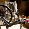 Spinning wheel and yarn in the 1864 Kvaale farmhouse.
