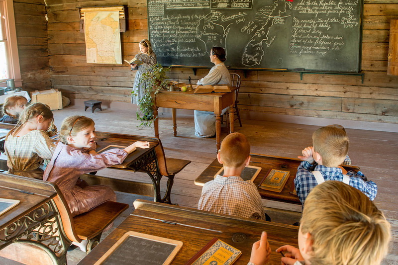 Interior of the one room Raspberry schoolhouse.