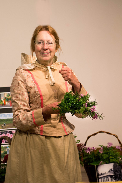 "Marcia Carmichael, Historic Gardener and author of ""Putting Down Roots"" gives a talk in Ramsey Barn."