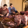 Butchering a pig at the Schottler farm.