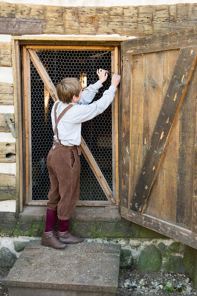 A young boy checks the door to the barn to make certain the chickens are secure for the night.