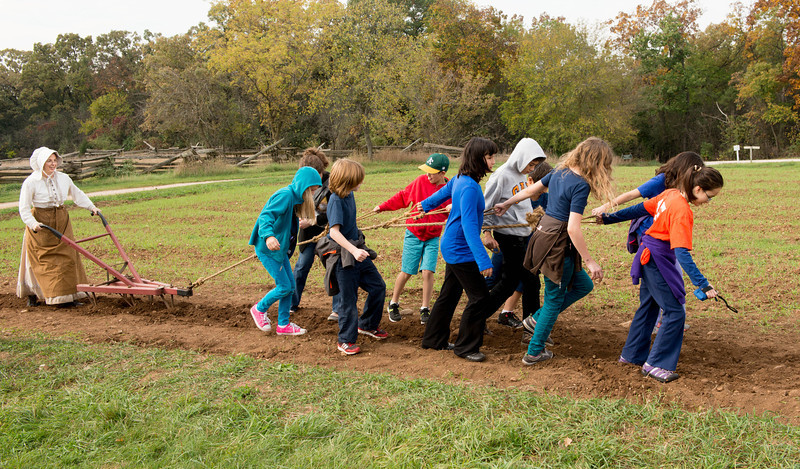 School children pulling a cultivator to demonstrate the power of farm horses