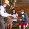 Students in the Schulz farm barn learn  how flax was used.